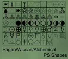 Pagan/Wiccan Custom Photoshop Shapes by xxtayce