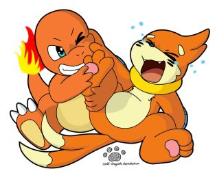 Commission: Charmander Tickling Buizel by Coshi-Dragonite