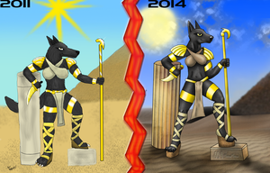 Egyptian jackal comparison by wolf117M