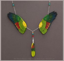Blue Fronted Amazon - Leather Wings Necklace by windfalcon