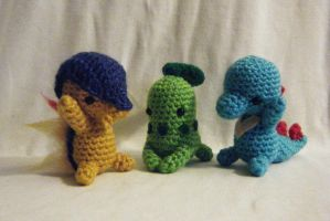 Johto Starter Pokemon Amigurumi Set by yourstarrysky