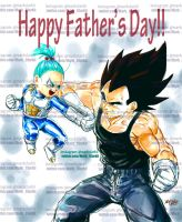 Dbz fathersday-Vegeta and Bra (bulla in the dub) by Mark-Clark-II