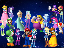 mlp Equestria girls and super Mario bros by DANIOTHEMAN