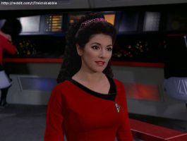 Troi in TOS uniform by deadfraggle