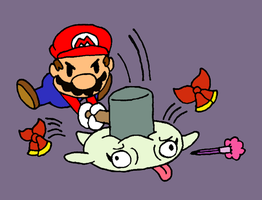 Mario hits Lady Bow by smawzyuw2