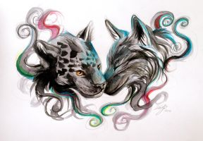 Jaguar and Wolf Design by Lucky978