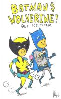 Batman and Wolverine Ice Cream by dawgmastas