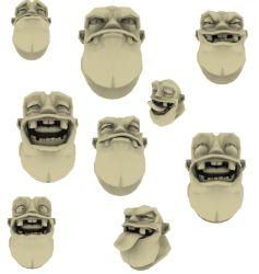 My 3D faces IN Maya Groggy by inkStainedme