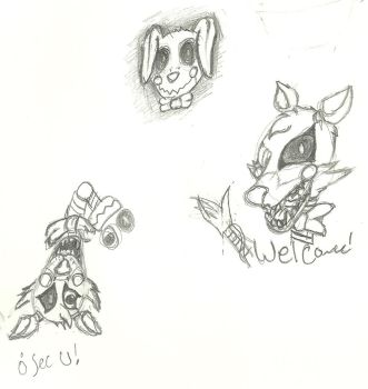 FNAF sketches by sonicthehedggie