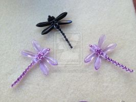 Beaded Dragonflies by WhiteMagicPriestess