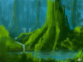 Green forest 2 speedpaint by Syntetyc
