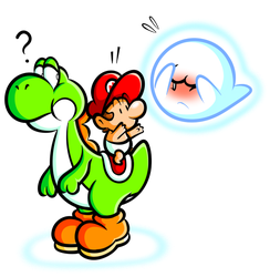 Yoshi and Baby Mario with Boo by JamesmanTheRegenold