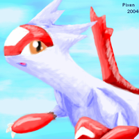 Latias soars through the sky by PipeDreamNo20