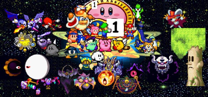 Kirby's 21st Anniversary Sprite Picture Happy 21! by cartoonpharaoh2
