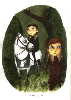 Bran and Robb by caracolescente