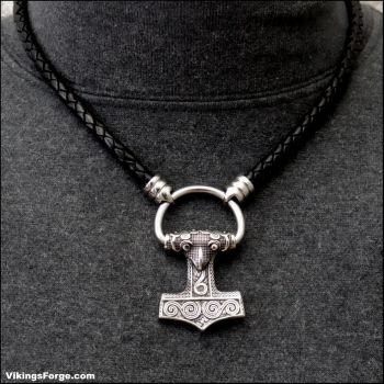 Raven Hammer with Torc on Leather Necklace by GoodSpiritWolf