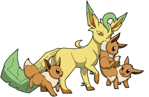 Leafeon's Family (No BackGround) by CoffeeAddictedDragon