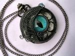 Custom - Dragon Wing Eye Functional Pocket Watch by LadyPirotessa