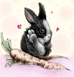 This smoll bunny with humongous carrots by ZalyHeartlessTigress
