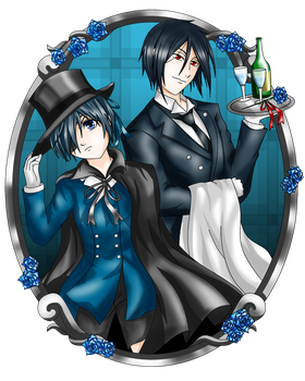 Black butler Ciel and Sebastian by SunnyTheSunFlower