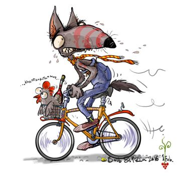 Wolf cycling with a wine and chicken. by Bobbart