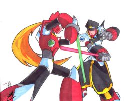 MMX- Zero vs. Colonel duel by Hakuramen