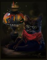 The midnight cat by Kajenna