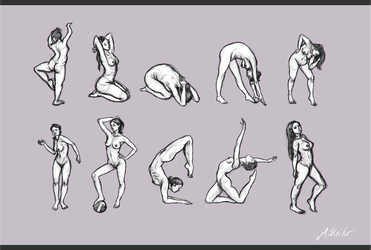 Female poses set 1 by MiKeiLo