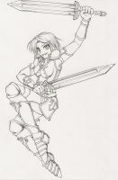 Shaiya Fighter - Lineart by cowgirlem