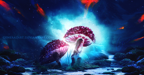 Magic mushrooms by Ellysiumn