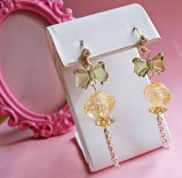 Green Bow and Lantern Earrings by FatallyFeminine