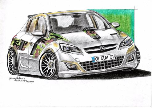 Opel Astra camouflaged modified drawing. by YavuzSelim07
