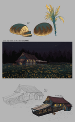 Blue wheat and Beel's house by GreekCeltic