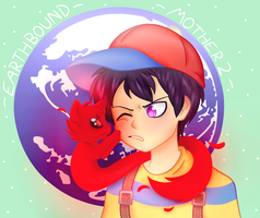 Earthbound - Ness and Giygas by ChimeraCaptor