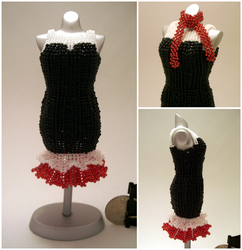Ballerina + Suit with Scarf, Cocktail Bead Dress by pinkythepink