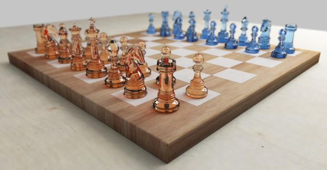Glass chess set by SanderWit