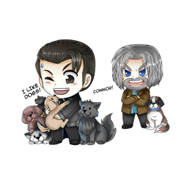 I like dogs! Detroit become human Chibis by Yunuyei
