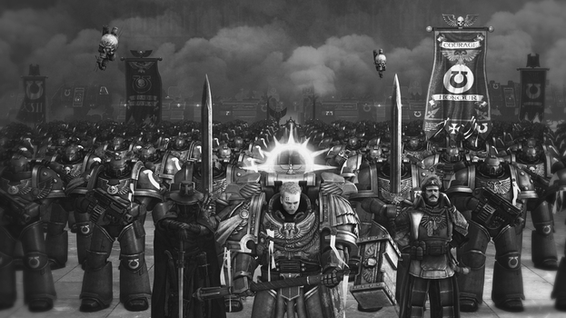 We March for Macragge! (black and white version) by MrCryCraft