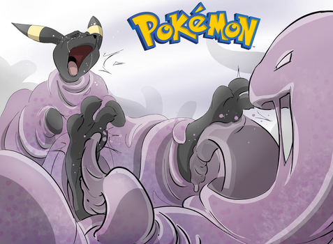 Muk Tickles Umbreon by PawFeather