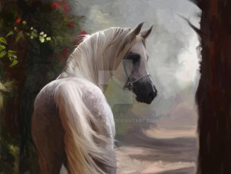 White horse  painted 1 by cartuneman