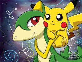 Servine and Pikachu by 29steph5