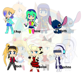 Assorted Chibis - Dance to the Music by Dragon-FangX