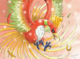 Ho-oh at Dawn by AustriaUsagi