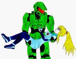 Master chief and Samus by master109