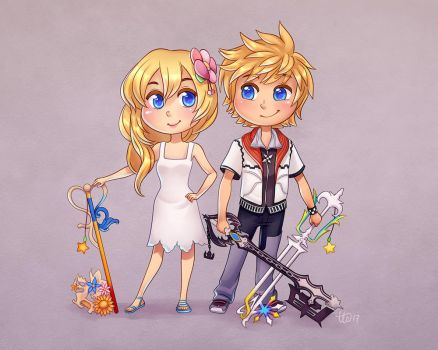 Namine and Roxas by TealSeaArt