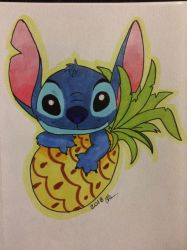 Stitch and his pineapple by Timelord909