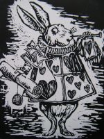 White Rabbit Lino Print by Probiscuit