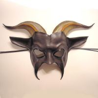 Leather Goat Mask Grey Face by teonova