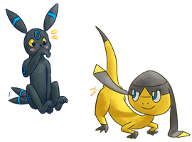 Umbreon + Helioptile by Pyritie