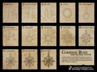 Fantasy Map Tutorial - Compass Rose by Djekspek